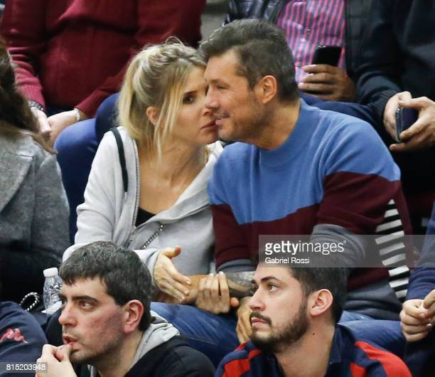 Vice president of San Lorenzo Marcelo Tinelli and Guillermina Valdes are seen in the stands during the fifth game between San Lorenzo and Regatas as...