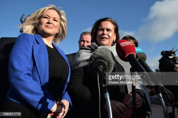 Vice President of Sinn Féin Michelle O'Neill and Leader of Sinn Féin Mary Lou McDonald hold a press conference as they arrive for talks with British...