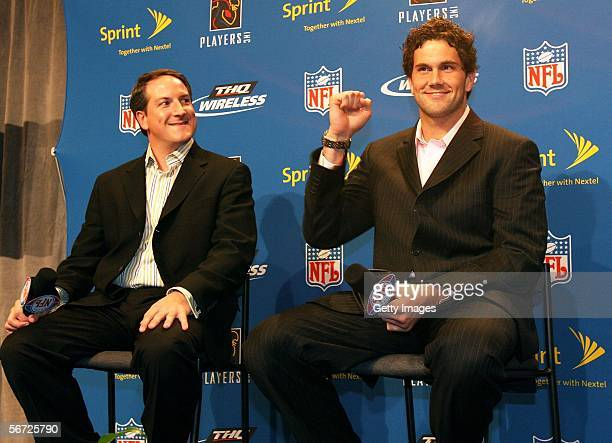 Vice President of Sports Marketing of Sprint Nextel Michael Robichaud and NFL Prospect Matt Leinart are seen during a press conference to announce...