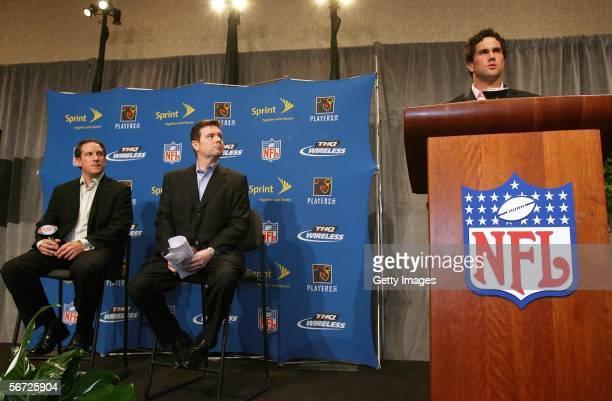 Vice President of Sports Marketing of Sprint Nextel Michael Robichaud and President of THQ Wireless Doug Clemmer listen to NFL Prospect Matt Leinart...