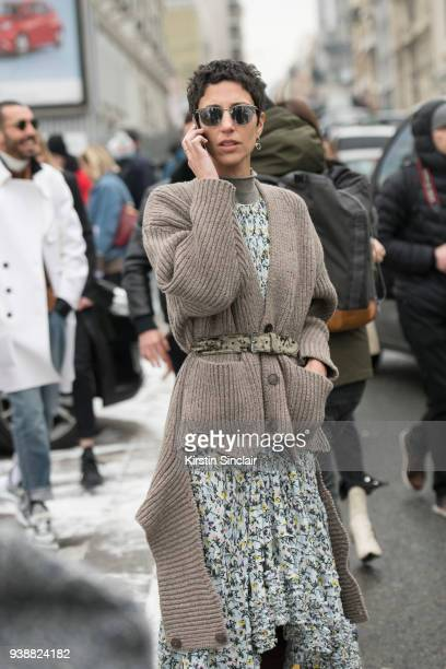 Vice president of style and creative at Farfetch Yasmin Sewell wears a Chloe dress and a Balenciaga cardigan day 4 of Paris Womens Fashion Week...