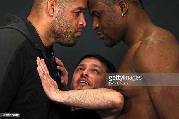 Vice President of Talent Relations Joe Silva gets between opponents Anthony Hamilton and Francis Ngannou during a face off at the UFC Fight Night...