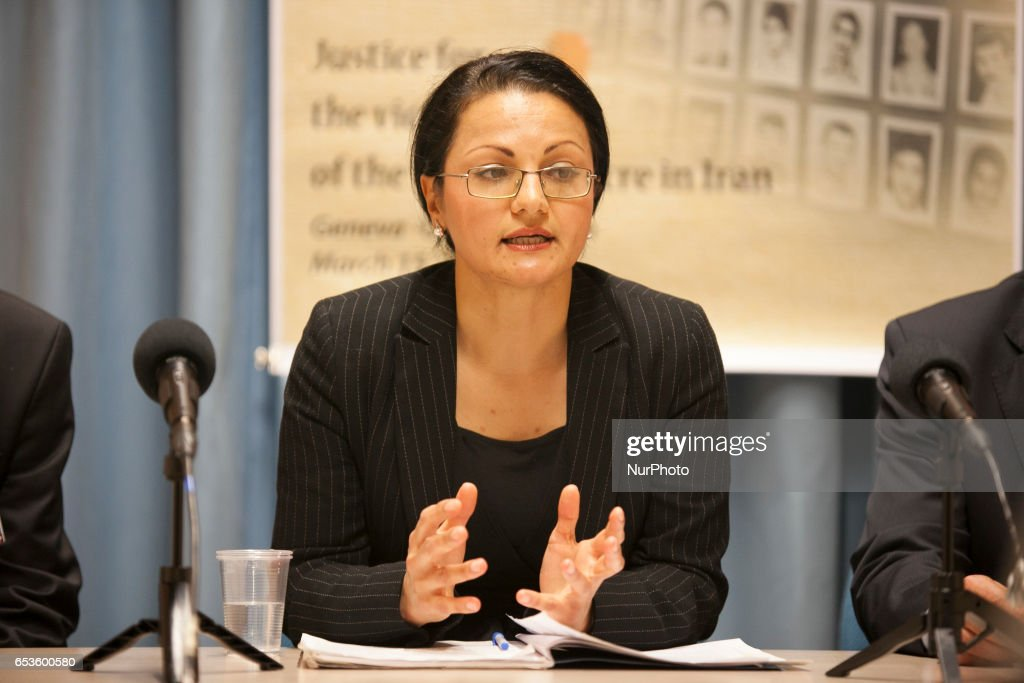 """Vice President of the Committee of Anglo-Iranian Lawyers (CAIL), Azadeh Zabeti, during press conference by the International Committee """"Justice for Victims of 1988 Massacre in Iran"""" (JVMI) at the UN Headquarters in Geneva on Wednesday, March 15, 2017, to announce its first report on the massacre of 30,000 political prisoners mainly supporters of the Peoples Mojahedin Organization of Iran (PMOI/MEK) in Iran in 1988. in"""