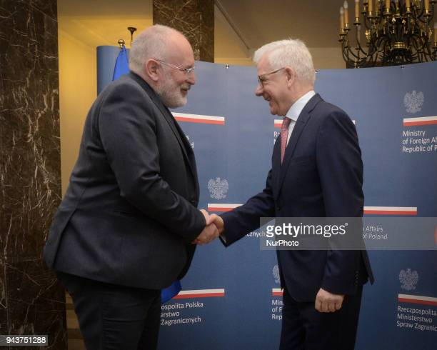 Vice President of the European Commission Frans Timmermans is seen meeting with Polish Minister of Foreign Affairs Jacek Czaputowicz in Warsaw Poland...