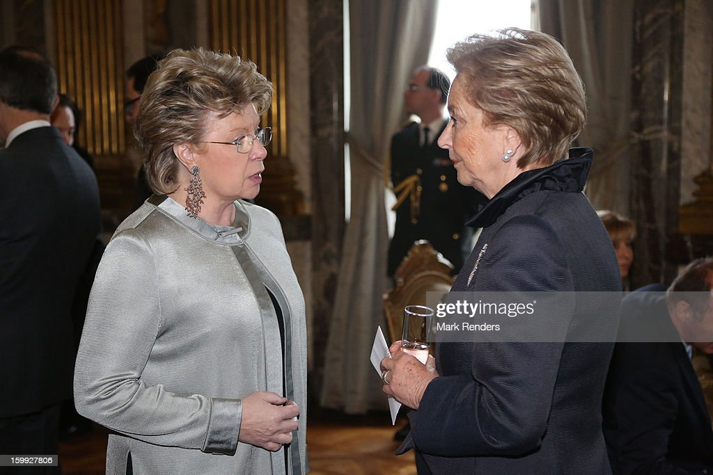 Vice President of the European Commission Viviane Reding and Queen Paola of Belgium attend a New Year reception for the European Commission Officials at Palais de Bruxelles on January 23, 2013 in Brussel, Belgium.