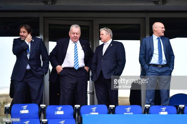 Vice president of the French Rugby Federation Serge Simon President of World Rugby Bill Beaumont CEO of World Rugby Brett Gosper and President of the...