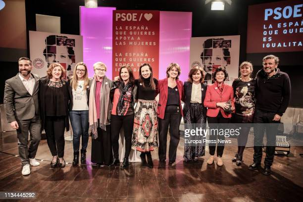Vice president of the Government Carmen Calvo Justice minister Dolores Delgado and Education Minister Isabel Celaá are seen in the act 'The Spain we...