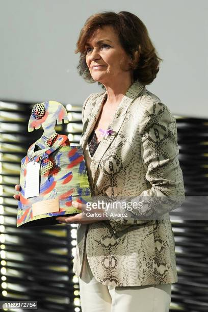 Vice President of the Government of Spain Carmen Calvo attends the International day against gender violence official act at Cineteca on November 25...