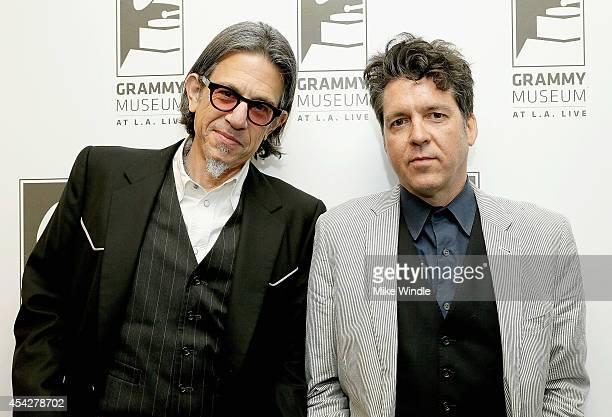 Vice President of the GRAMMY Foundation Scott Goldman and singersongwriter Joe Henry pose at The GRAMMY Museum on August 27 2014 in Los Angeles...