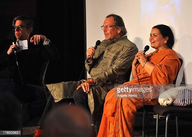 Vice President of the GRAMMY Foundation Scott Goldman filmmaker Alan Kozlowski and Ravi Shankar's wife Sukanya Shankar onstage during Reel To Reel...