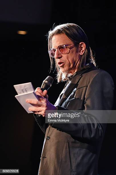 Vice President of the GRAMMY Foundation Scott Goldman introduces Icons of the Music Industry at The GRAMMY Museum on February 9 2016 in Los Angeles...