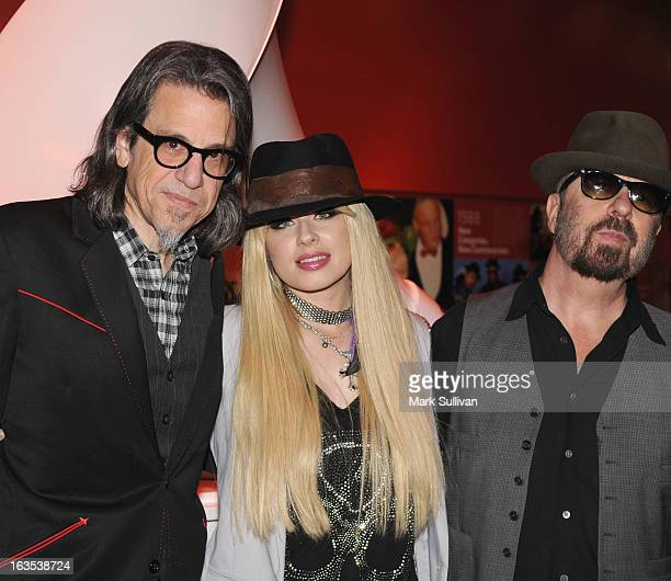 Vice President of the GRAMMY Foundation Scott Goldman musician Orianthi and musician Dave Stewart pose before Great Guitars Orianthi at The GRAMMY...