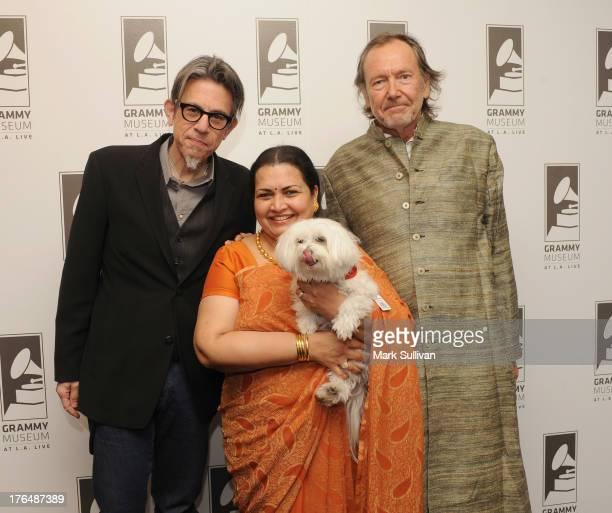 Vice President of the GRAMMY Foundation Scott Goldman Ravi Shankar's wife Sukanya Shankar and filmmaker Alan Kozlowski pose before Reel to Reel...