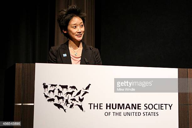 Vice President of The Humane Society of the United States Los Angeles office Michelle Cho speaks onstage during the Wild Horses screening presented...