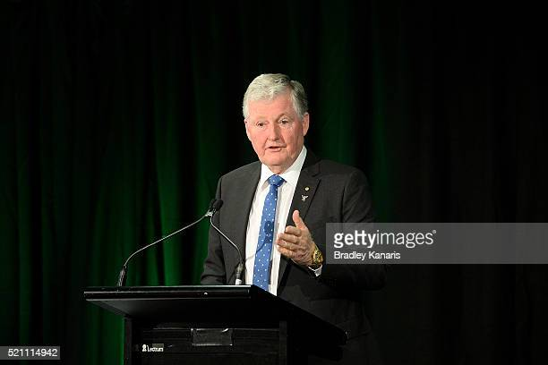 Vice President of the International Tennis Federation Mr Geoff Pollard speaks during the Fed Cup Official Dinner on April 14 2016 in Brisbane...