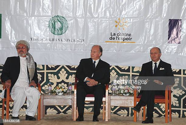 Vice president of the Islamic republic of Afghanistan Karim Khalili Prince Karim Aga Khan and the French minister of Foreign Affairs Laurent Fabius...