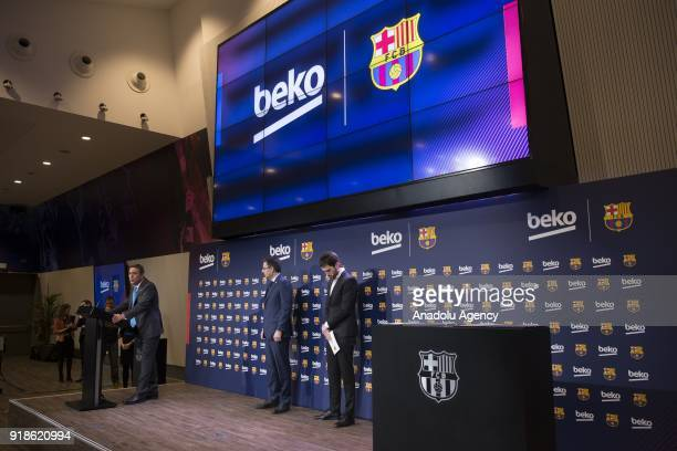 Vice president of the Koc Holding administration council Ali Koc and FC Barcelona's Chairman Josep Maria Bartomeu hold a joint press conference as...