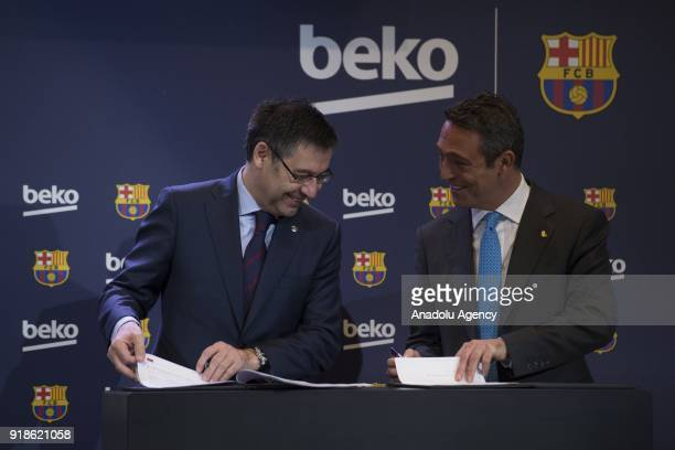 Vice president of the Koc Holding administration council Ali Koc and FC Barcelona's Chairman Josep Maria Bartomeu attend the press presentation of a...