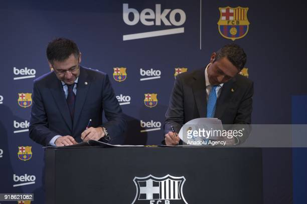 Vice president of the Koc Holding administration council Ali Koc and FC Barcelona's Chairman Josep Maria Bartomeu sign a sponsorship agreement...