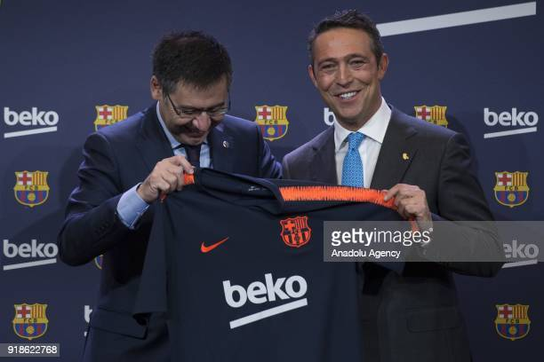 Vice president of the Koc Holding administration council Ali Koc and FC Barcelona's Chairman Josep Maria Bartomeu hold a FC Barcelona's jersey with...
