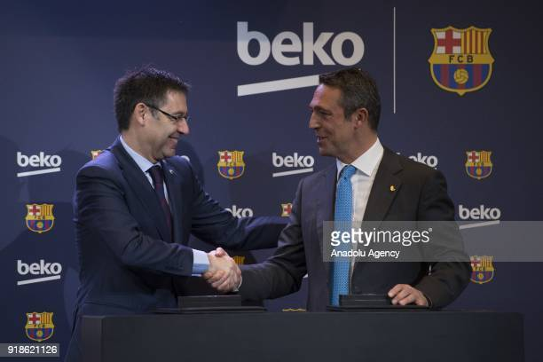 Vice president of the Koc Holding administration council Ali Koc shakes hands with FC Barcelona's Chairman Josep Maria Bartomeu during a press...