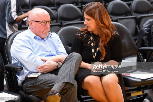 Vice President of the New Orleans Pelicans, David Griffin talks with Journalist, Rachel Nichols before the game against the Los Angeles Lakers on...