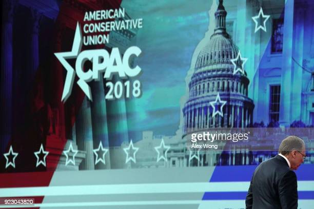 Vice President of the NRA Wayne LaPierre leaves after he spoke during CPAC 2018 February 22 2018 in National Harbor Maryland The American...