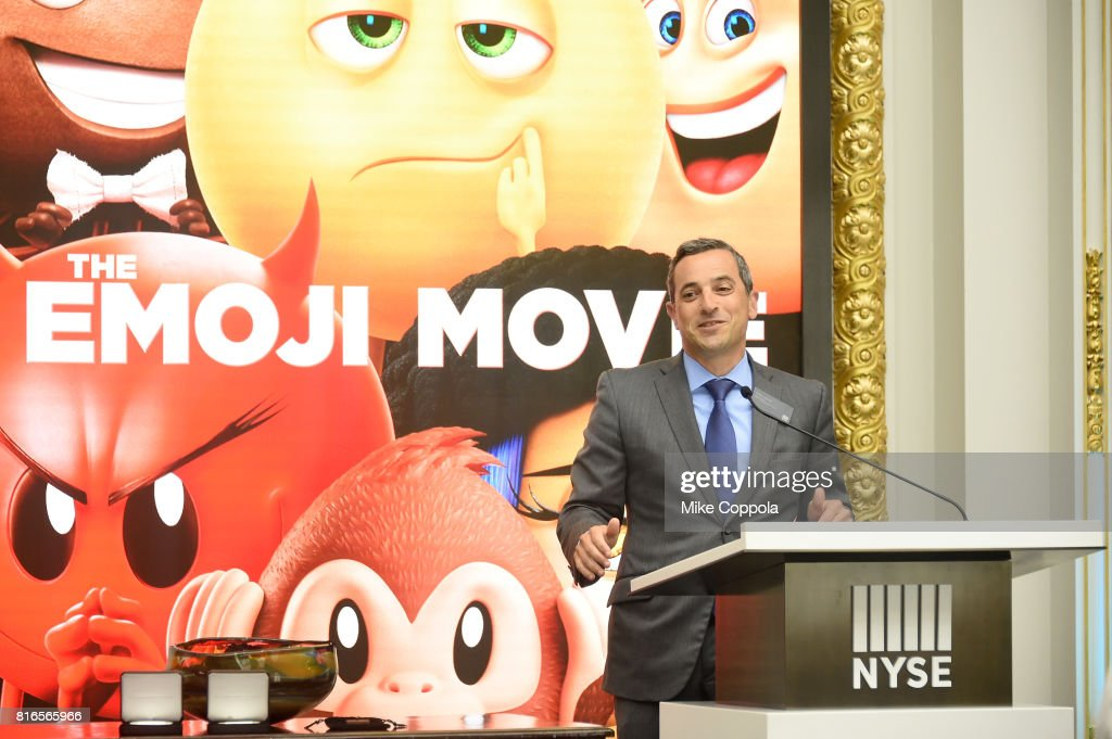Vice President of the NYSE Listings an NYSE Services Chris Taylor welcomes the cast of the Emoji Movie as they ring The Closing Bell Of The New York Stock Exchange In Honor Of World Emoji Day at New York Stock Exchange on July 17, 2017 in New York City.