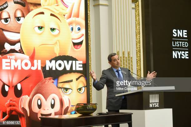 Vice President of the NYSE Listings an NYSE Services Chris Taylor welcomes the cast of the Emoji Movie as they ring The Closing Bell Of The New York...
