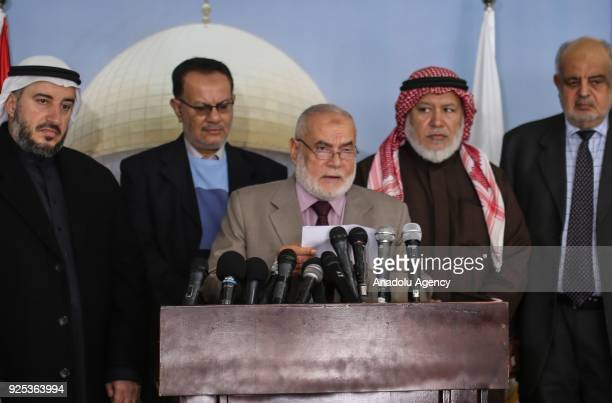 Vice President of the Palestinian Legislative Council Ahmed Bahr holds a press conference in Gaza City Gaza on February 28 2018
