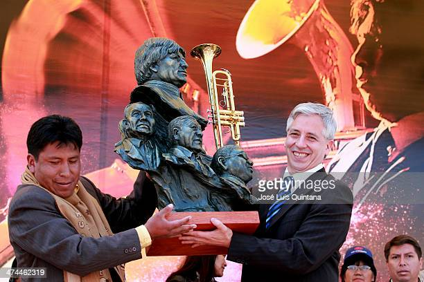 Vice President of the Plurinational State of Bolivia Álvaro García Linera receives a present during the XIII Festival band of musicians in Oruro...