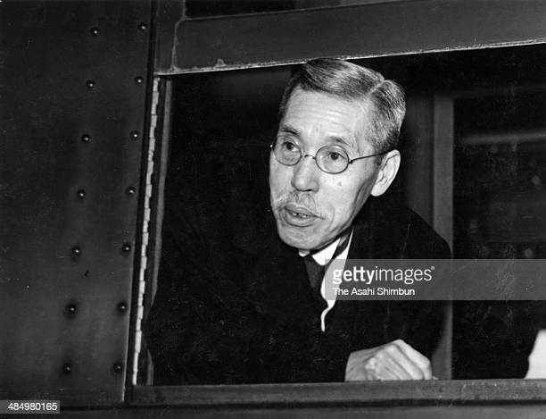 Vice President of the Privy Council Kiichiro Hiranuma is seen on departure to Ise Jingu Shrine to report his promotion to the president at Tokyo...