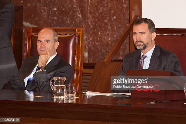 Vice President of the Spanish Goverment Manuel Chaves Gonzalez and Prince Felipe of Spain attend 'Ciudad de la Ciencia y la Innovacion' Awards at...