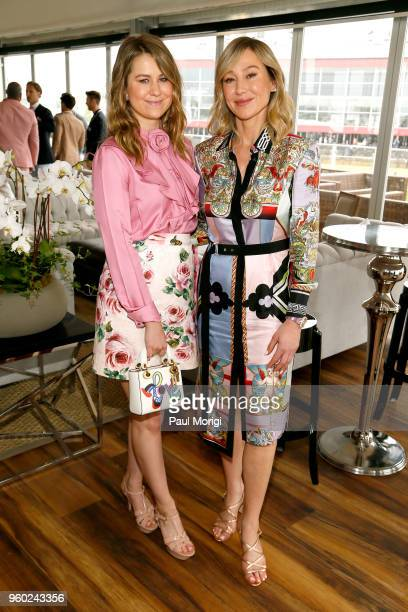 Vice President of The Stronach Group Nicole Walker and Chairman and CEO of The Stronach Group Belinda Stronach attend The Stronach Group Chalet at...