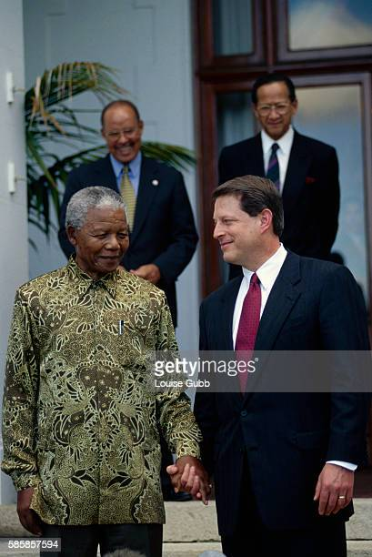 Vice President of the United States Al Gore meets President Nelson Mandela at Genodendal the President's residence in Capetown Former President of...