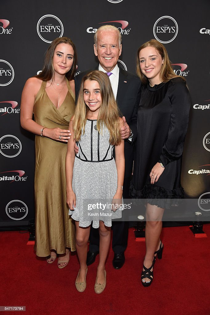 Vice President of the United States Joe Biden (C) and family attend the 2016 ESPYS at Microsoft Theater on July 13, 2016 in Los Angeles, California.