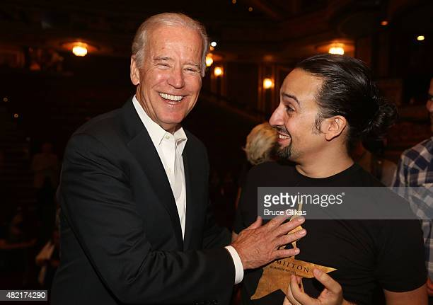 "Vice President of the United States Joe Biden and Lin Manuel Miranda chat backstage at the hit new musical ""Hamilton"" on Broadway at The Richard..."