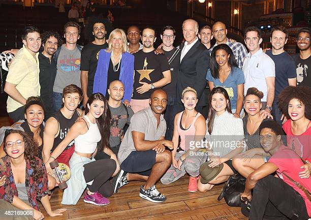 "Vice President of the United States Joe Biden and wife Jill Biden visit the cast of the hit new musical ""Hamilton"" on Broadway at The Richard Rogers..."