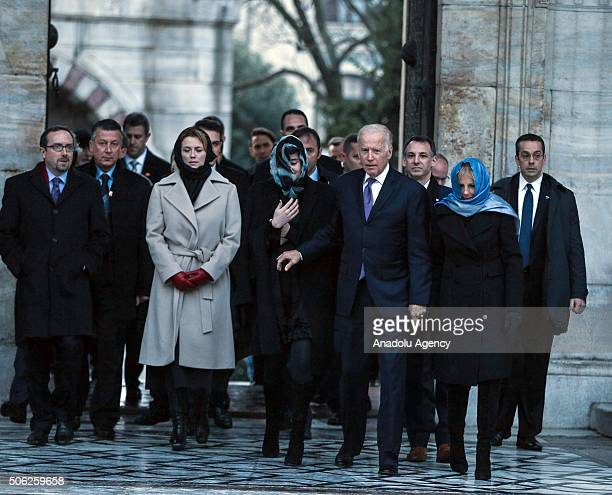 Vice President of the United States Joe Biden his wife Dr Jill Biden and his granddaughter Naomi Biden visit historical Sultan Ahmed Mosque in...