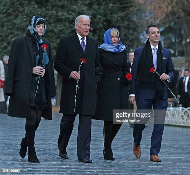 Vice President of the United States Joe Biden his wife Dr Jill Biden his granddaughter Naomi Biden and his son in law Howard Krein leave carnations...