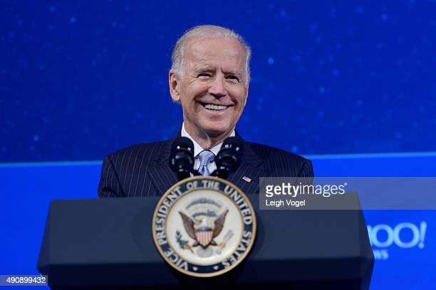 Vice President of the United States Joe Biden speaks on stage during the 2015 Concordia Summit at Grand Hyatt New York on October 1 2015 in New York...