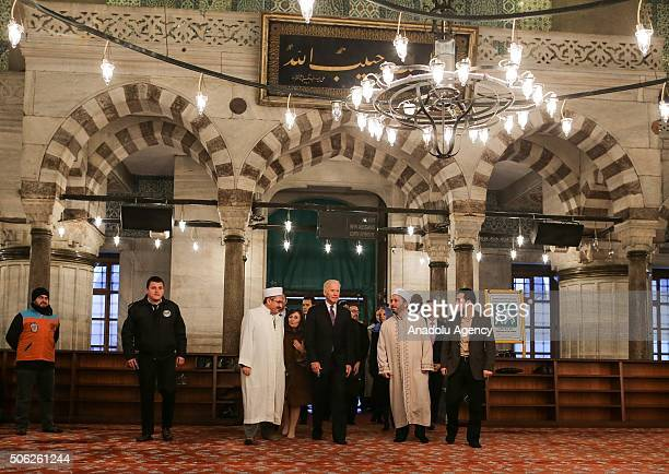 Vice President of the United States Joe Biden visits historical Sultan Ahmed Mosque in Istanbul Turkey on January 22 2016 The Sultan Ahmed Mosque...