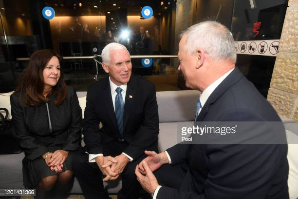 Vice President of the United States Mike Pence and his wife Karen Pence during the Fifth World Holocaust Forum on January 23, 2020 in Jerusalem,...
