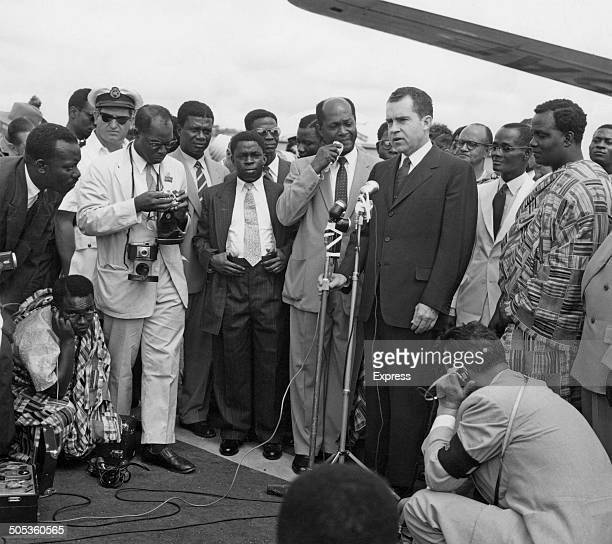 Vice President of the United States Richard Nixon delivers a speech upon his arrival in Accra for the Ghanaian independence celebrations 5th March...