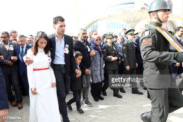 Vice President of Turkey Fuat Oktay and relatives attends the funeral of Infantry Specialist Umut Cosku at the Ahmet Hamdi Akseki Mosque in Ankara on...