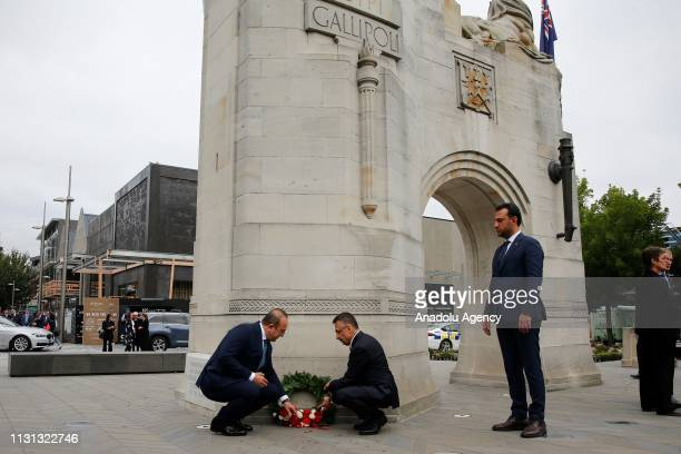 Vice President of Turkey, Fuat Oktay and Turkish Foreign Minister Mevlut Cavusoglu lay wreath to the Bridge of Remembrance Memorial in Christchurch,...