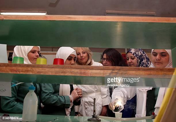 Vice President of United States Joe Biden's wife Jill Biden meets Syrian refugee students during her visit at Zaatari refugee camp in Mafraq near the...