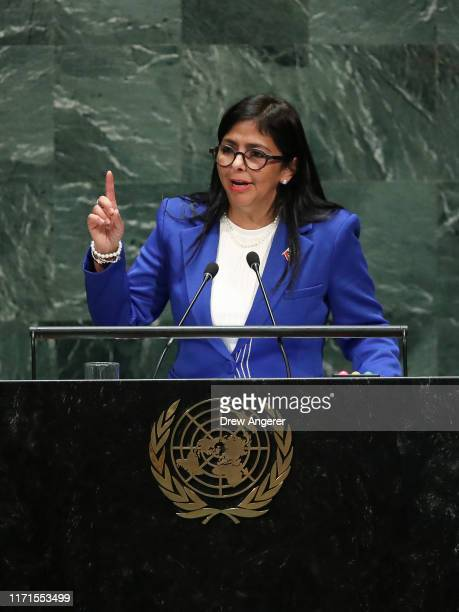 Vice President of Venezuela Delcy Rodriguez addresses the United Nations General Assembly at UN headquarters on September 27, 2019 in New York City....