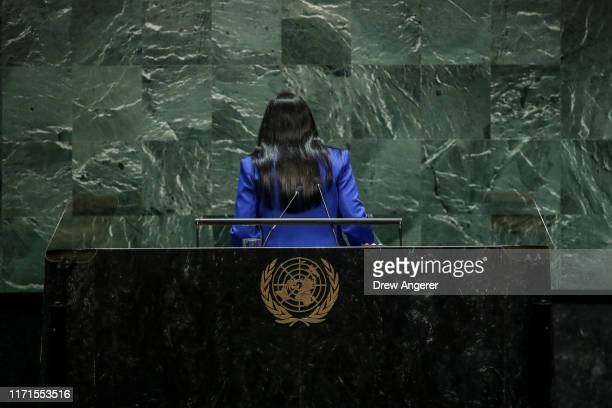 Vice President of Venezuela Delcy Rodriguez exits the lectern after addressing the United Nations General Assembly at UN headquarters on September...