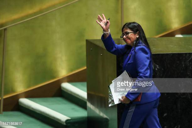 Vice President of Venezuela Delcy Rodriguez exits the stage after addressing the United Nations General Assembly at UN headquarters on September 27,...
